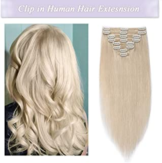 s-noilite Clip in Human Hair Extensions 100% Real Remy Thick True Double Weft Full Head 8 Pieces 18 clips Straight silky (10 inch - 110g,Platinum Blonde (#60))