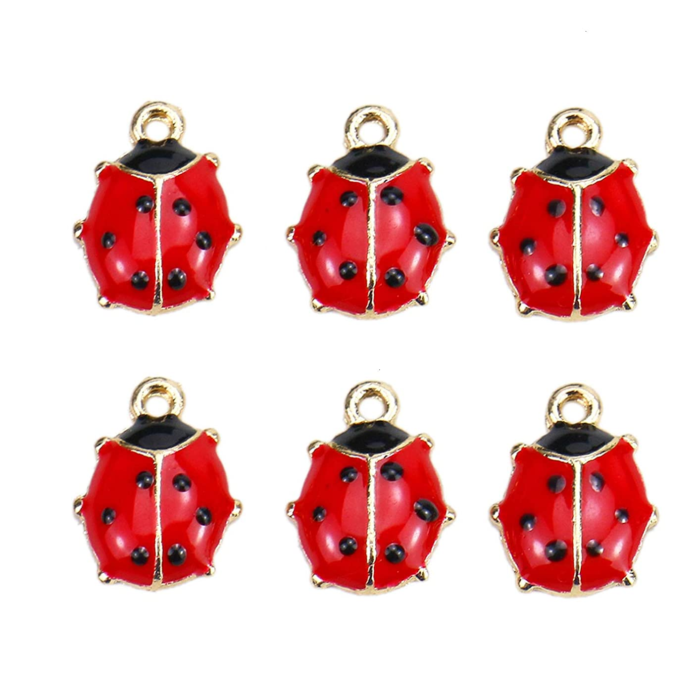 Monrocco 20 PCS Alloy Charms Pendants Small Red Beetle for Necklace Bracelet DIY Jewelry Making Accessories