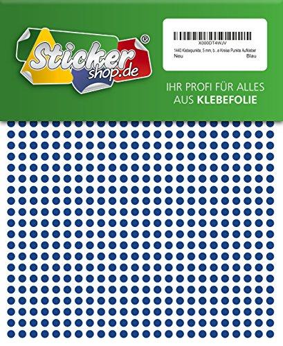 1440 Klebepunkte, 5 mm, blau, aus PVC Folie, wetterfest, Markierungspunkte Kreise Punkte Aufkleber