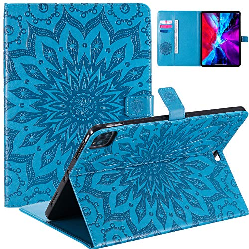 WHWOLF Design for iPad Pro 11 Case (2020 & 2018 version) Flip Wallet Cases Folio Stand Cover Shock Absorption -blue