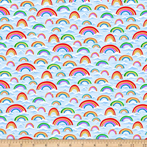 QT Fabrics Knit Jesus Loves Me Rainbows, Light Blue Yard