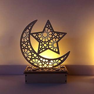 Mobestech 1PC Ramadan Mubarak Eid Decorations Wooden Moon Star Lights Table Top Ornaments for Home Party Supplies, Random ...