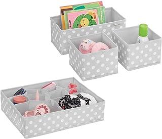 mDesign boite de rangement tissu (lot de 4) – bac de rangement avec 13 compartiments au total – pour la chambre d'enfant –...