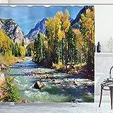 ABAKUHAUS Landschaft Duschvorhang, Berge von Colorado, Set inkl.12 Haken aus Stoff Wasserdicht Bakterie & Schimmel Abweichent, 175 x 200 cm, Multicolor