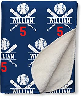 NICTIMEID Customized Newborn Gifts for Baby Deisgn Name and Team Number Print Blankets, Navy 31