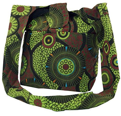GURU SHOP Sadhu Bag, Shopper, Schulterbeutel - Grün, Herren/Damen, Baumwolle, Size:One Size, 30x35x15 cm, Alternative Umhängetasche, Handtasche aus Stoff