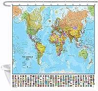 Jocar世界地図シャワーカーテン、教育地理学国さまざまな国の旗がある首都浴室 防水 防カビ加工 洗面所 間仕切り 目隠し用 取付簡単