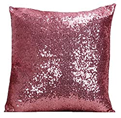 Pink Multi-Size Sequin Throw Pillow Cover Sham Case