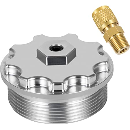 Cosmoska Aluminum Fuel Filter Cap For Ford Powerstroke 2003-2007 6.2L with Test Port