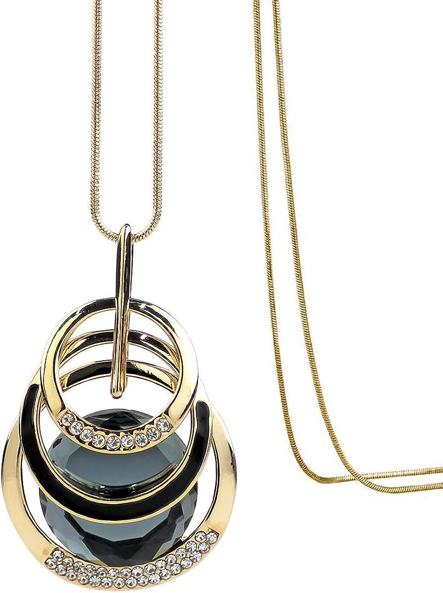 Merdia Triple Layer Pendant Necklace Long Statement Pendant Necklace Long Sweater Chain-Round Pendant