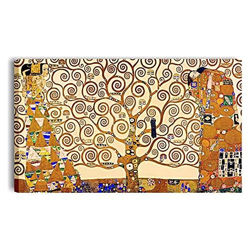 Quadri L&C ITALIA Quadro Albero della Vita di Klimt 100 x 60 Stampa su Tela Canvas da Parete per Soggiorno Moderno Camera da Letto Ufficio