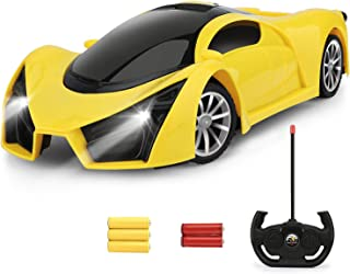 Hony Remote Control Car - 1/16 Scale Yellow Drift Racing Car Toy Model Vehicle , with Led Lights High Speed RC Car Toys Gift for Kids Age 3 4 5 6 7 8 9 Year Old Boys and Girls