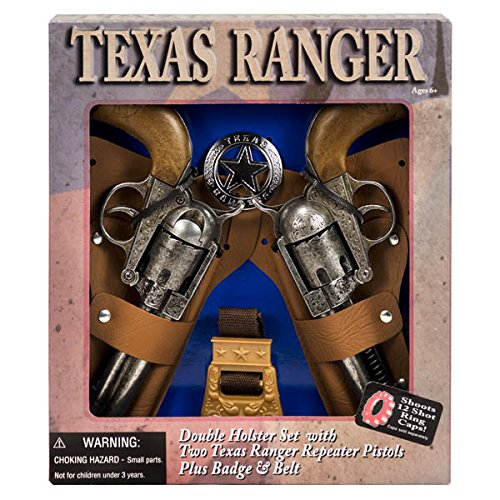 DOUBLE HOLSTER Toy cap Gun new Revolver Edison Giocattoli TEXAS RANGER BADGE !!! For Ages 6+