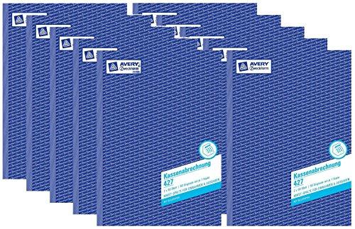 AVERY Zweckform 427 Kassenabrechnung (A4, mit MwSt.-Spalte, 2x50 Blatt) weiß/gelb (10 Stück)