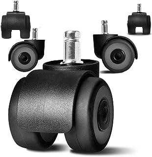 SXYRN 2 inch bureaustoel Caster vervanging TPR wielen & veilig, universele standaard stam 11x22mm, set van 5, viervoudige ...