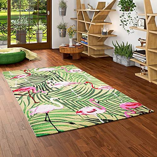 Pergamon Faro - Alfombra de diseño Tropical Flamencos Verde - 5 tamaños