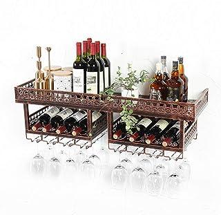 L.HPT Porte-Bouteille de vin Vintage, Cuisine Accrochage du Casier À Vin Upside Down Gobelet Rack Salle À Manger Accroché ...