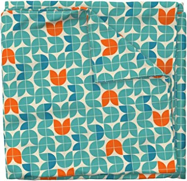 Roostery Spoonflower Duvet Cover, Mid Century Modern Tulips Orange Teal Regular Scale Blue Floral Retro Turquoise Geometric P