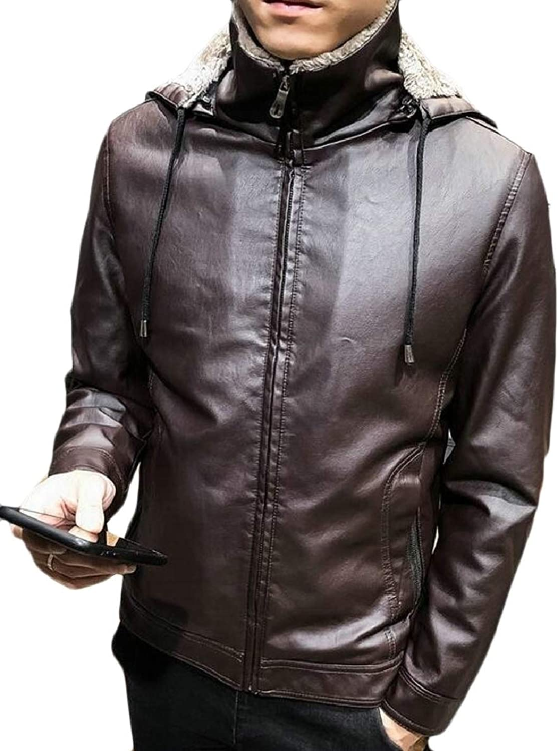 Tymhgt-CA Men's Thicken Faux Fur Collar Fleece Lined PU Leather Shearling Jacket