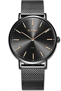 Mens Watches Black Steel Waterproof Quartz Watch- SUNVEN Super Thin Watch With Stainless Steel Band