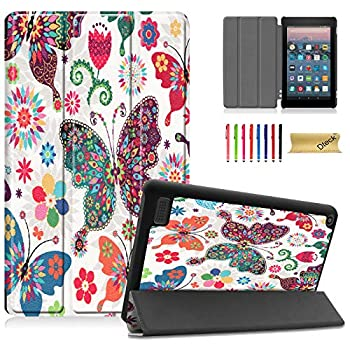 Dteck Slim Case for All-New Amazon Fire 7 9th Gen 2019 Release Kindle Fire 7 2017 2015 Case PU Leather Lightweight Shell Trifold Stand Protect Cover with Auto Wake/Sleep Function Colorful Butterfly