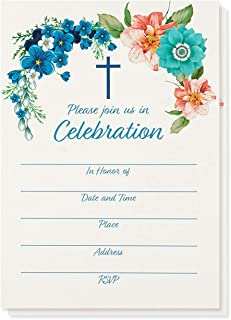 50-Pack Religious Invitations - Christian Invitation Cards, Ideal for Christening, Baptism, Holy Confirmation, Church Events, V-Flap Envelopes Included, 5 x 7 Inches