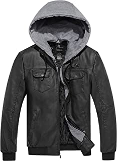 Men's Faux Leather Jacket PU Leather Moto Jacket with Removable Hood