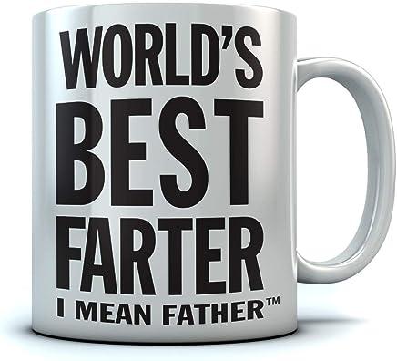 Tstars World's Best Farter, I Mean Father Coffee Mug Christmas, for Dad, Grandpa, Husband from Son, Daughter, Grandson, Granddaughter, Wife Birthday Gift for Men Ceramic Mug 15 Oz. White
