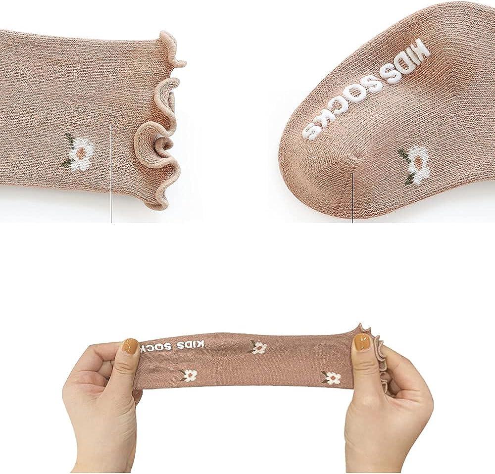 Baby Girls Ruffel Socks Toddler Ankle Floral Casual Socks Infant Non-Slid Dress Socks