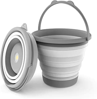 NEBO 5-Liter Collapsible Flashlight Bucket: 200 Lumen Removable Magnetic Puck Light Works Great as a Flood Light and Spot Light; Use it for Camping, Fishing, Emergencies, Halloween 6667 Brite Bucket