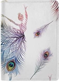 Watercolor Peacock Feather Blocking Print Passport Holder Cover Case Travel Luggage Passport Wallet Card Holder Made with Leather for Men Women Kids Family