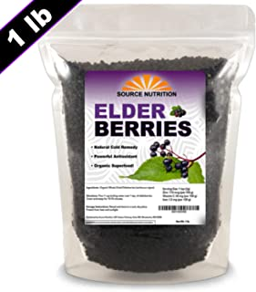 Dried Elderberries - Naturally Grown, Whole European Elder Berries, Responsibly Wild Crafted - (1 Pound) - Bulk Resealable Bag (100% Natural)