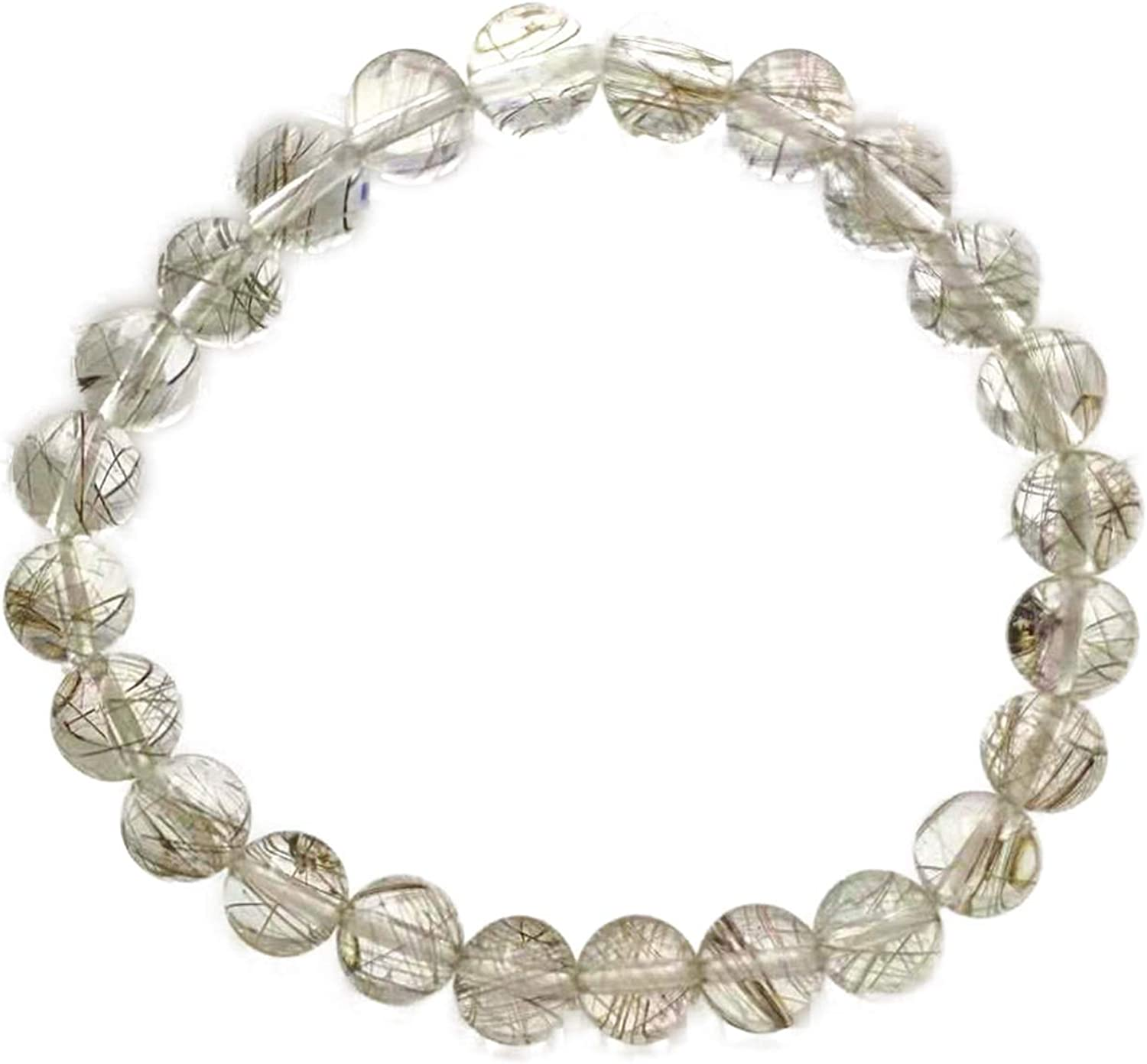 Genuine Natural Silver A Dedication surprise price is realized Rutilated Quartz 8mm Stretc Crystal Clear