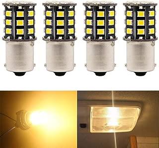 JAVR - Pack of 4-1156 BA15S 1141 1003 7506 Super Bright Warm White 12-24V DC 2835 33SMD LED Bulbs for Back Up Reverse Lights,Brake Lights,Tail Lights,Interior RV Camper lighting