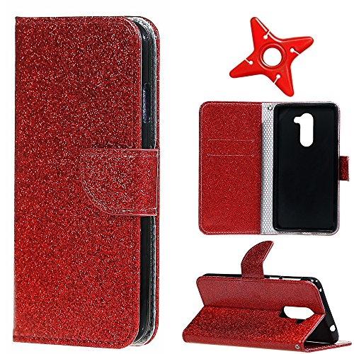MAOOY Huawei Honor 6X Lederhülle, Kreative Flash Bling Glitter Entwurf Wallet Hülle für Huawei GR5 2017, Bookstyle Cover mit Standfunktion und Karten Slot und Magnetische für Huawei Honor 6X, Rot