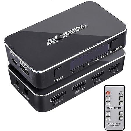 HDMI Switch 4x1 with Audio Extractor, 4K@60Hz Ultra HD HDMI Switcher with Optical TOSLINK SPDIF, 3.5mm Audio Support ARC Function, 3D, 1080P @120Hz, 4Kx2k @60Hz HDTV (IR Wireless Remote Control)