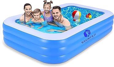 Shunfaji Aufblasbare Pool, Großer Familienpool, Pool rechteckig für Kinder, Familienschwimmbad, Aufblasbare Schwimmbäder, Schwimmzentrum, Erwachsene, Babys, für Garten und Outdoor B 140  96  45CM