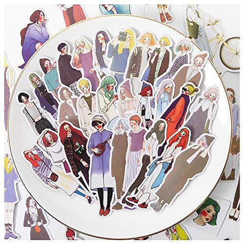 170 Stück Scrapbook Aufkleber Cartoon handbemalt Mädchen Aufkleber Doraking DIY Dekorative Gril's Aufkleber für Laptop, Umschlag, Scrapbook, Sweet Girls 170 Design/Pack (Mori Girl (170 nvzihai))