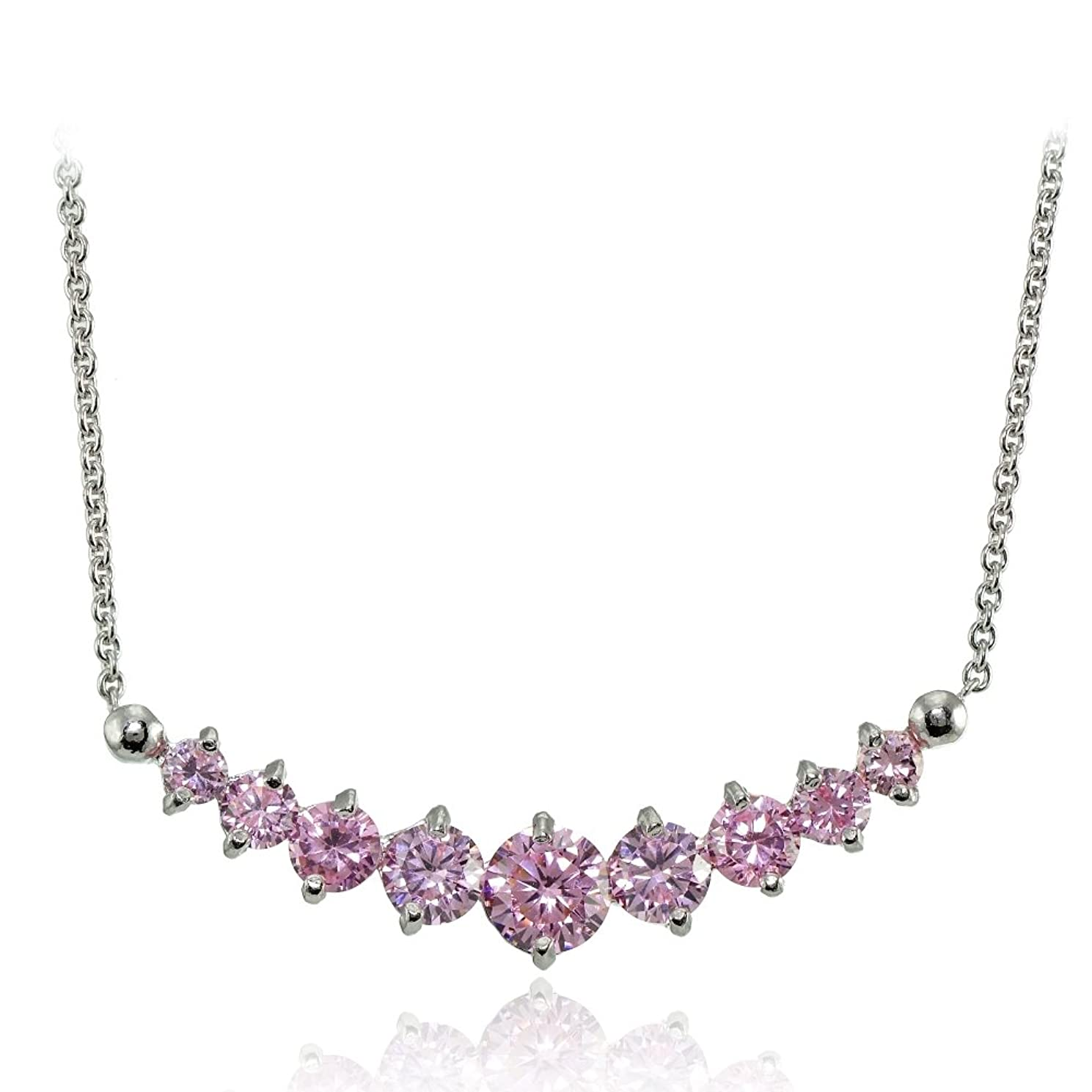 Hoops & Loops Sterling Silver Light Pink Cubic Zirconia Graduated Necklace