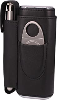 AMANCY Convenient Cedar Wood Lined 2 Holder Black Cigar Case with 2 Oz Stainless Steel Flask and Cutter