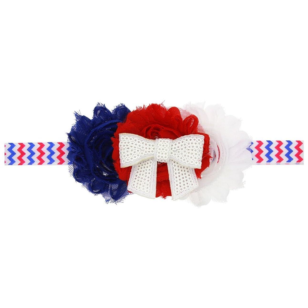 カレッジ支配的調子BESTOYARD 赤ちゃんの女の子の髪のフープアメリカンフラグ愛国心のための愛国心のヘアバンドちょう結び花のフラワークラウンストレッチヘッドバンド