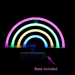 LED Neon Light Rainbow with Pink,Green,Yellow,Blue Color Wall Decorative Neon Signs for Bedroom Girls' Kids Home Decoration Night Light Battery Powered and USB Plug(NERBO)