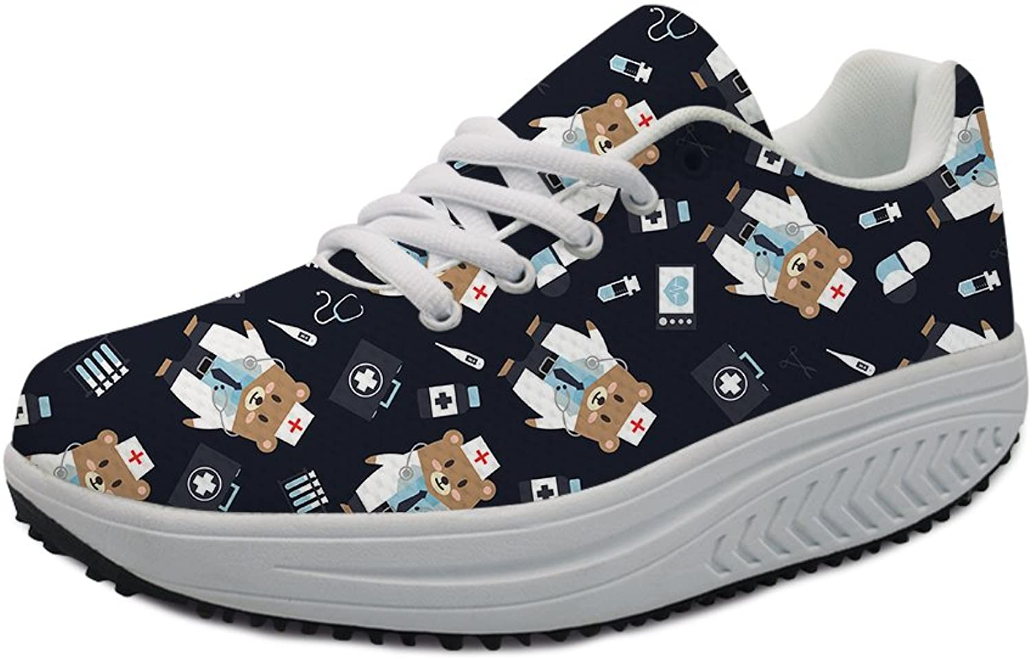 Fashion Cartoon Bear Printing Fitness Walking Sneaker Casual Women's Wedges Platform shoes