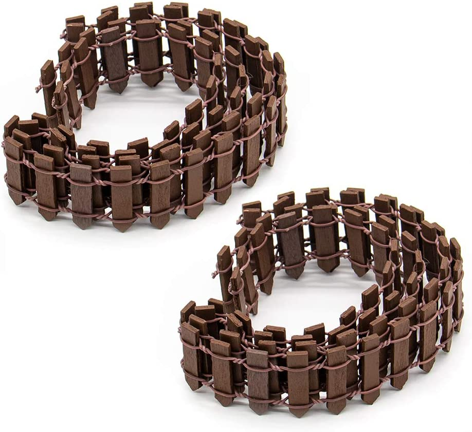 AUEAR, 2 Pack 40 Inch Long Mini Fairy Garden Fence Wood Ornament Wooden Decorative Picket Fence for DIY Crafts Project (Brown, 2-Pack)