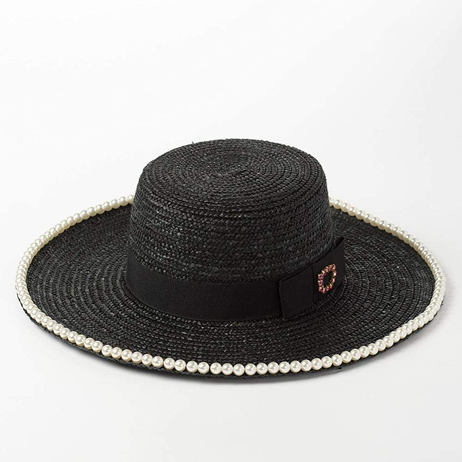 TtKj051 Lady Hats EuropeanStyle DiamondStudded BowTopped Straw Hat Lady Travel Beach Sun Visor