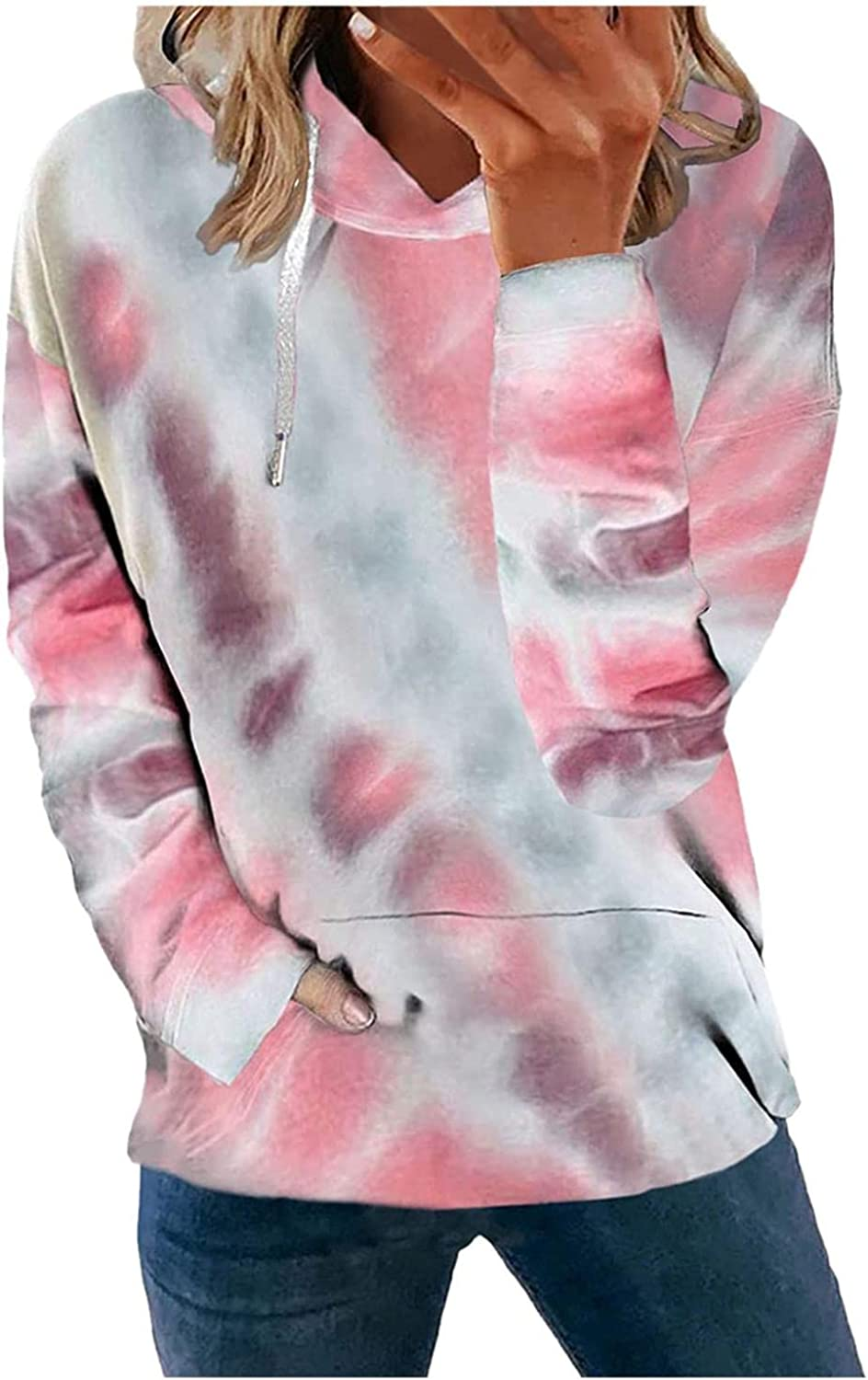 Hoodies for Manufacturer direct delivery Women VISLINDU Womens Tie Long H Sleeve Don't miss the campaign Dye Printed