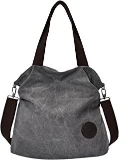 F Fityle Fashion Plain Canvas Shoulder Bag Large Capacity Women Shopping Handbag Tote
