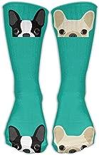 Nicegift Personalized Boston Terrier French Bulldog Unisex Short Socks Casual Athletic Outdoor Socks Novelty Socks 50cm