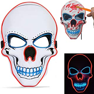 PETUOL Halloween LED Skull Mask Halloween Cosplay Light Up Mask Death Skull Safe EL Wire/4 Modes - Glowing Creepy Mask Festival Parties Frightening Customs White