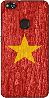 AMZER Slim Fit Handcrafted Designer Printed Snap On Hard Shell Case Back Cover for Huawei P10 Lite - Vietnam Flag- Wood Te...